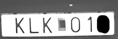 Overexposed licence plate