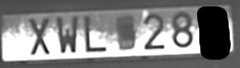 License plate of varying reflectance